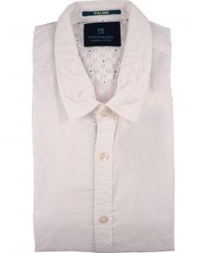 Scotch & Soda White 1501-03.21126 Blue Inside Trim Short Sleeve Shirt