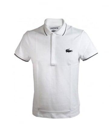 Lacoste White 4 Button Neck Polo