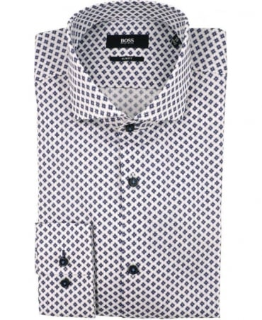 Hugo Boss White 50291162 Jaser Pattern Shirt