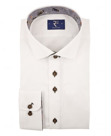 R2 Westbrook White 95.WSP.12 Contrasting Bird Shirt