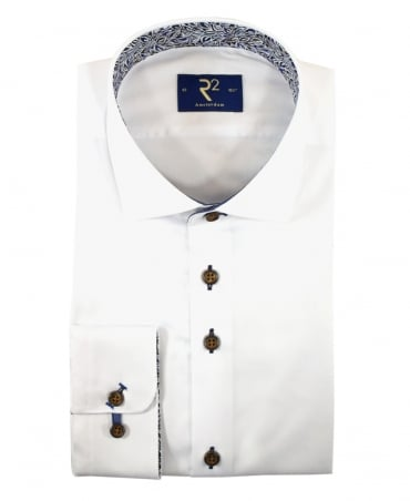 R2 Westbrook White 95.WSP.22 Contrasting Pattern Shirt