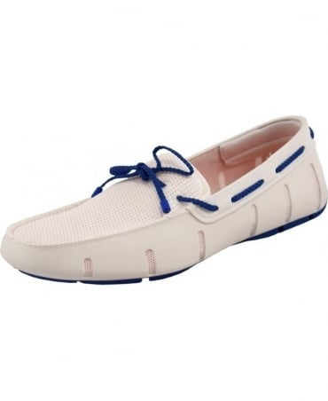 Swims White And Blue Braided Lace Up Loafer