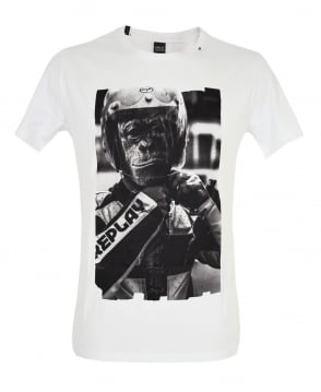 Replay White Biker Monkey Print T-Shirt