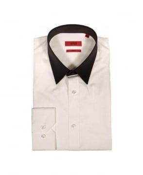 Hugo White, Black Collar Slim Fit Shirt