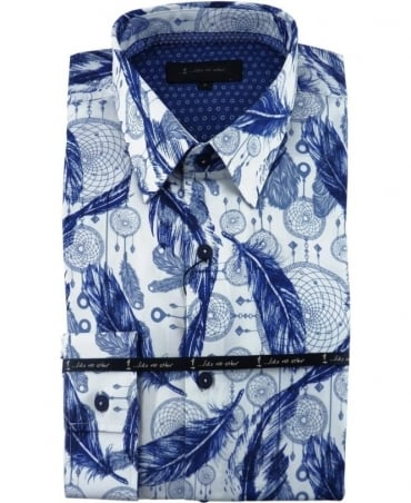 White/Blue Leaf Print Shirt