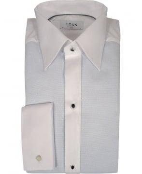 Eton Shirts White & Blue Pique Evening Shirt