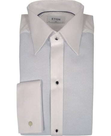Eton Shirts White & Blue Pique Evening Shirt