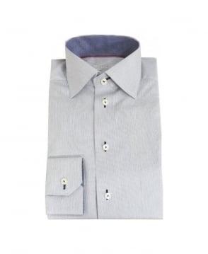 Eton Shirts White & Blue Stripe & Dog Tooth Detail Shirt