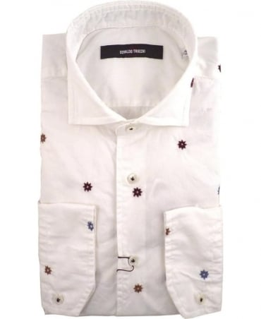 Osvaldo Trucchi White Brooklyn Floral Stitch Shirt