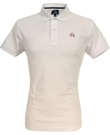 La Martina White CCMP02 Slim Fit Chest Logo Polo