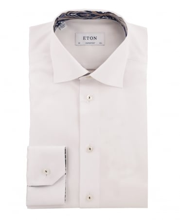 Eton Shirts White Contemporary Fit Paisley Trim Shirt