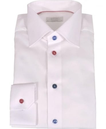 Eton Shirts White Contemporary Fit Shirt With Contrasting Buttons