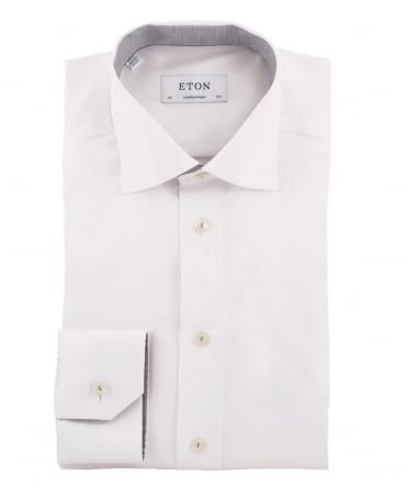 White Contemporary Fit Signature Twill Shirt
