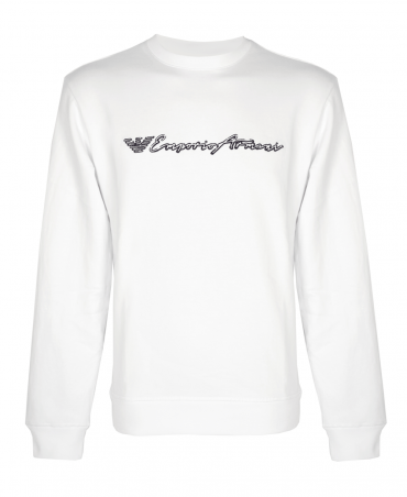 White Crew Neck Sweatshirt With Logo