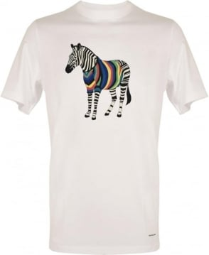 PS By Paul Smith White Crew Neck Zebra Print T-shirt