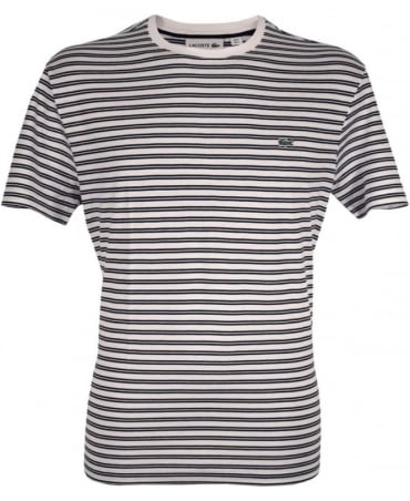 Lacoste White & Dark Blue Stripe TH1889 Crew Neck T-Shirt