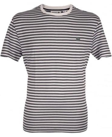 Lacoste White & Dark Blue Stripe TH1889 Crew Neck T-Shirt