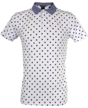 Scotch & Soda White Dot Print Refined Polo Shirt