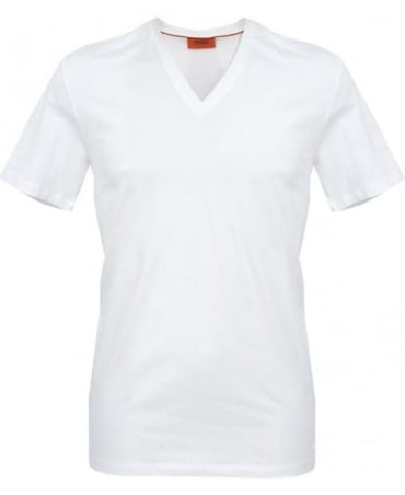 Hugo White Dredosos V-Neck T-Shirt 50261022