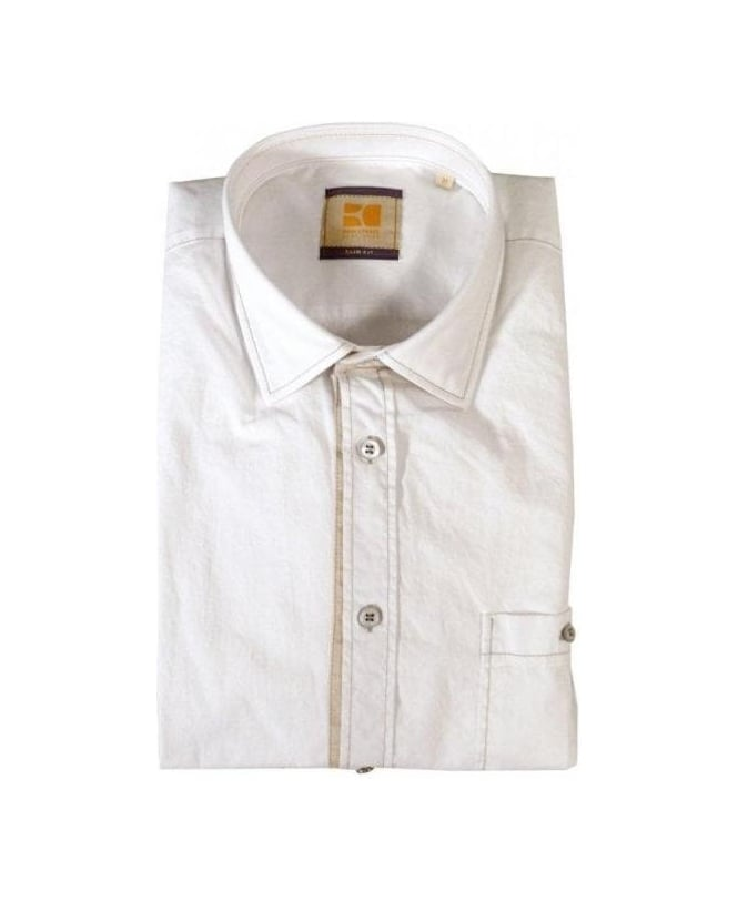 Hugo Boss White Eslime Slim Fit Shirt