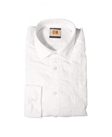 Hugo Boss White Eworke Contrast Panel Shirt