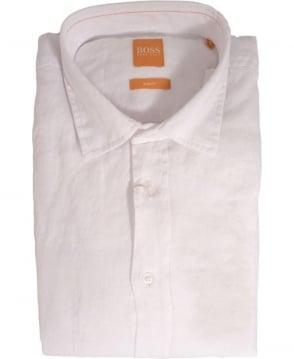 Hugo Boss White ExtremeE 50282710 Linen Shirt