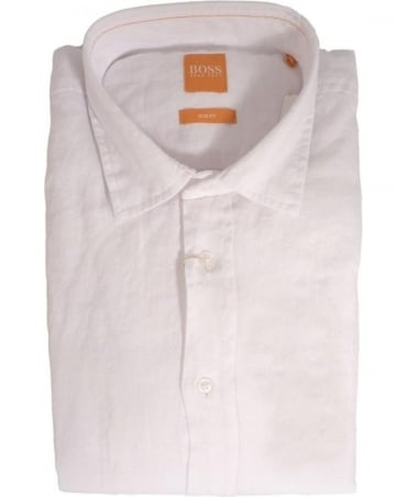 Hugo Boss White ExtremeE 50282710 Linen Shirt