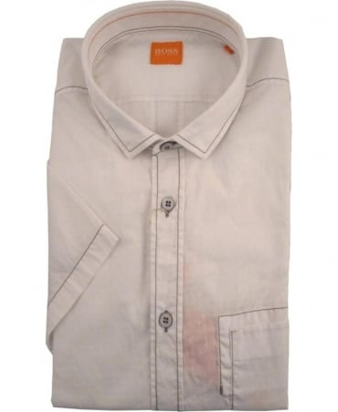 Hugo Boss White EzippoE_1 Short Sleeve Shirt