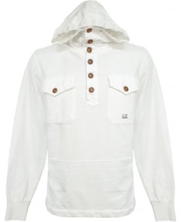 CP Company White F08168 Hooded Sweatshirt
