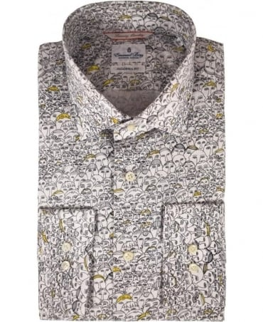 Emanuel Berg White Face Print Modern Fit Shirt