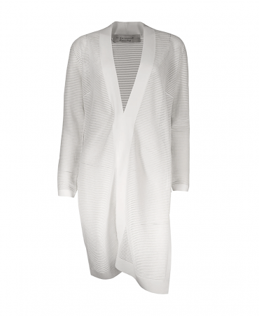 White Fine Knit Ribbed Midi Open Cardigan