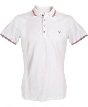 Diesel White Four Button Polo Shirt