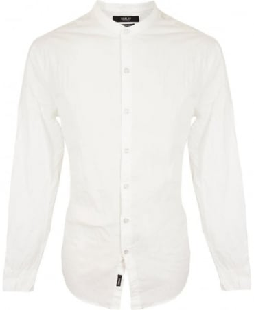 Replay White Grandad Collar Shirt