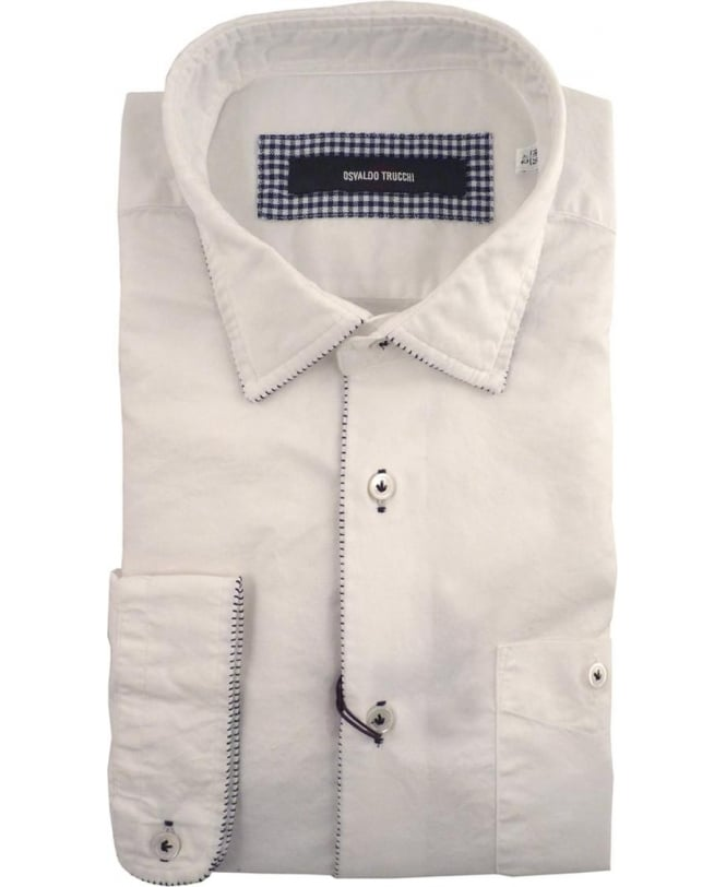 Osvaldo Trucchi White Hemingway Blue Stitch Shirt