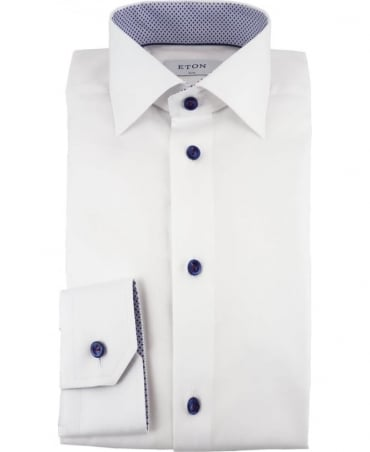 Eton Shirts White Herringbone Shirt With Trim Details