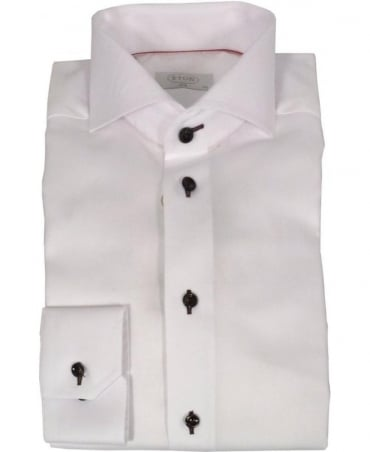 Eton Shirts White Herringbone Twill Slim Fit Cambridge Shirt