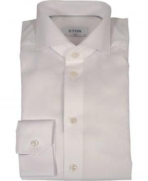Eton Shirts White Herringbone Twill Slim Fit Shirt