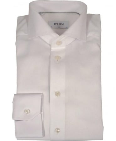 Eton Shirts White Herringbone Twill Slim Fit Shirt