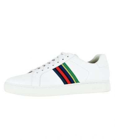 White Lapin Leather Multi Stripe Trainers
