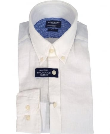 Hackett White Linen Slim Fit Brompton Shirt