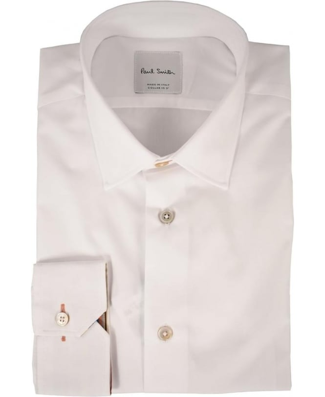 Paul Smith White Long sleeve Multi Coloured Strips Inside Cuff Shirt