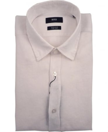 Hugo Boss White Lukas 50304359 Linen Shirt