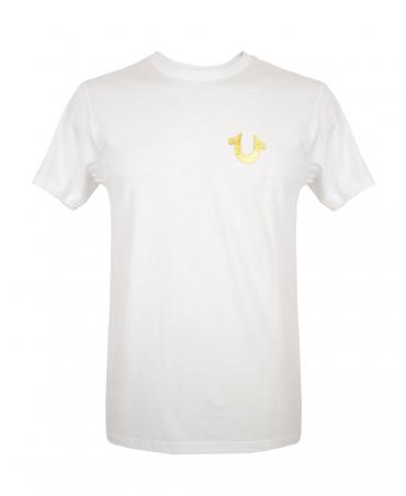 True Religion White MD086C067F Metallic Gold Buddha T-Shirt