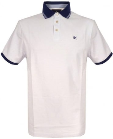 Hackett White Mixed Woven Trim Polo