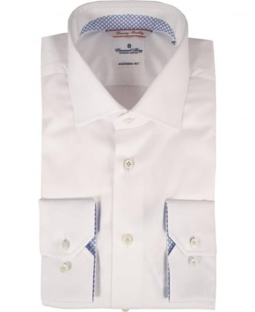 Emanuel Berg White Modern Polka Dot Trim Shirt