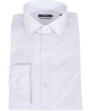 Hugo Boss White Polka Dot Slim Fit Jenno Shirt