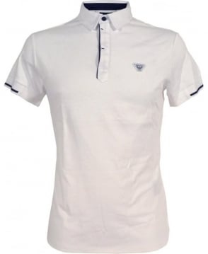 Armani Jeans White Polo Shirt In Cotton Interlock