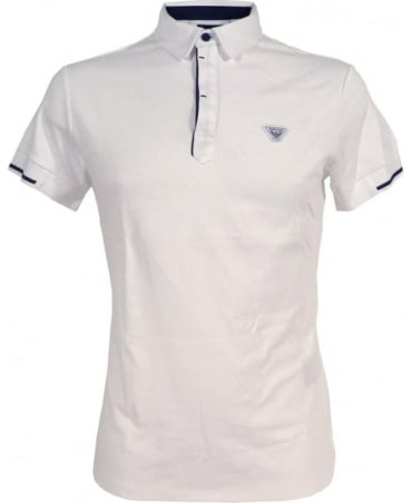Armani White Polo Shirt In Cotton Interlock