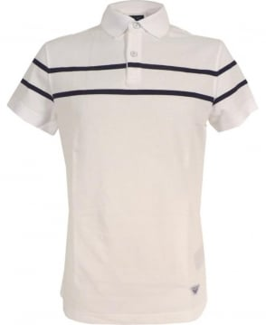Armani Jeans White Polo Shirt In Cotton Pique