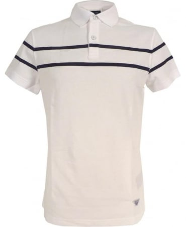 Armani White Polo Shirt In Cotton Pique